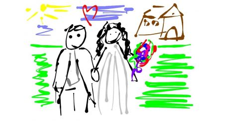 pareja feliz recien casada